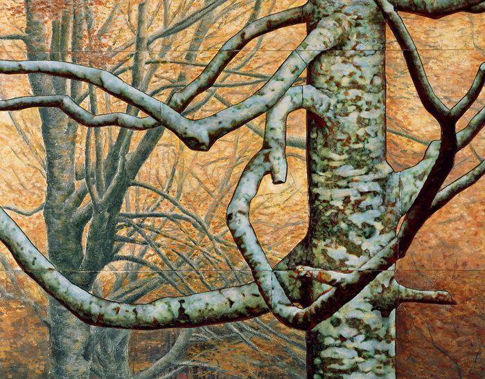Luis Válles - esmalte al fuego - cursos - Cuadro Ref.11 El abuelo de montejo. Esmate pintado con oxidaciones sobre cobre, montado sobre madera pintada con acrilicos al oleo. 122x90cm.