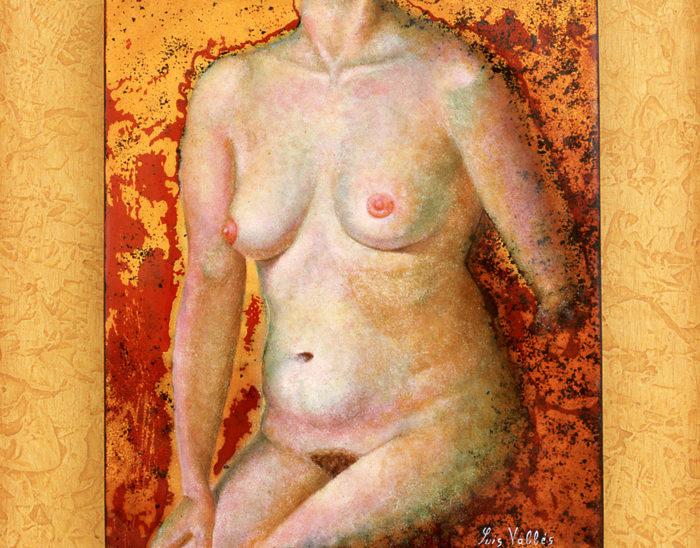 Luis Válles - esmalte al fuego - cursos - Cuadro Ref.12 Desnudo. Esmalte pintado con oxidaciones sobre cobre. 17x13.5cm