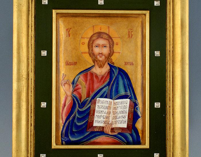 Luis Válles - esmalte al fuego - cursos - Marco con imagen Ref.1278 Estilo renacimiento. Esmalte pintado. 39x41cm