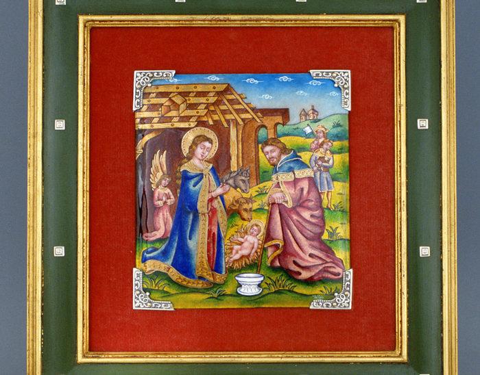 Luis Válles - esmalte al fuego - cursos - Marco con imagen Ref.1288 Estilo renacimiento. Esmalte pintado 39x41cm