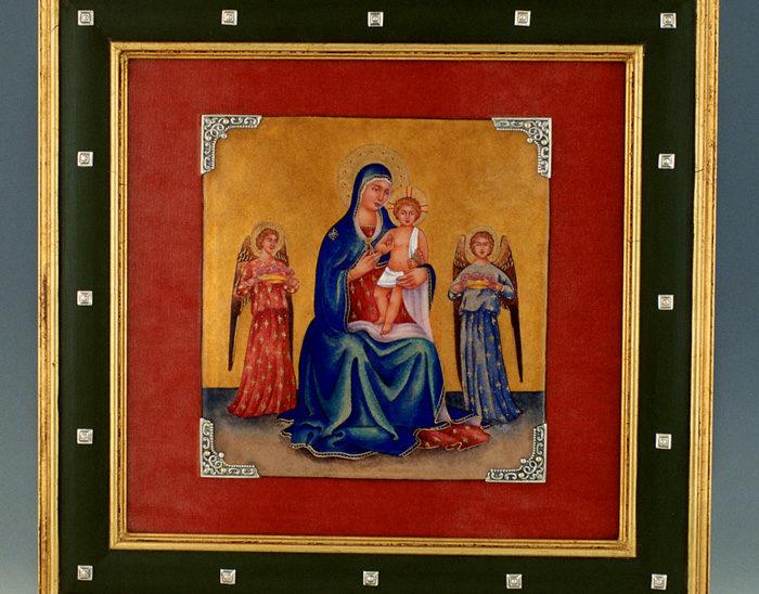 Luis Válles - esmalte al fuego - cursos - Marco con imagen Ref.1291 Estilo gótico. Esmalte pintado. 40x40cm