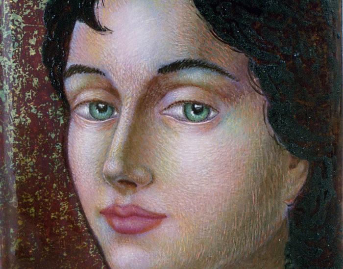 Luis Válles - esmalte al fuego - cursos - Cuadro Ref.15 Gema II. Esmalte pintado con oxidaciones sobre cobre. 9.5x4.5cm