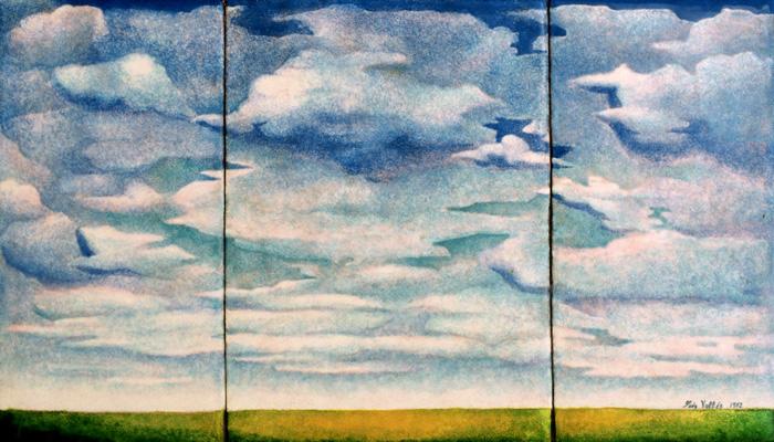 Luis Válles - esmalte al fuego - cursos - Cuadro Ref.2 Cielo. Esmalte pintado sobre cobre. 39x22,5cm