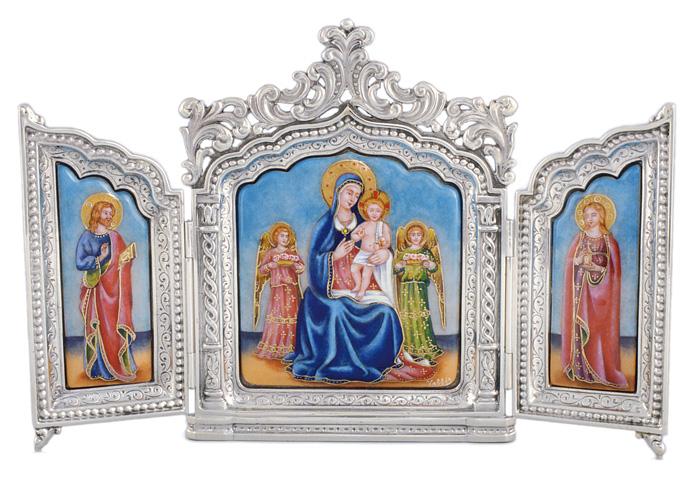 Tríptico Ref.219 Estilo gótico. Esmalte pintado. 20x21 cm