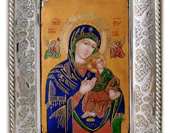 Luis Válles - esmalte al fuego - cursos - Marco con imagen Ref.253 Virgen del perpetuo socoroo. Esmalte pintado 16x21cm