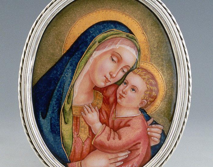Luis Válles - esmalte al fuego - cursos - Marco con imagen Ref.254 Virgen del buen consejo. Esmalte pintado. 10x14cm