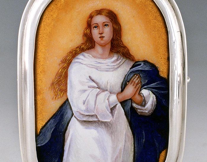 Luis Válles - esmalte al fuego - cursos - Marco con imagen Ref.256 Inmaculada. Esmalte pintado. 7x10cm