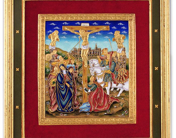 Luis Válles - esmalte al fuego - cursos - Marco con imagen Ref.266 Estilio renacentista. Esmalte celular 36x39cm