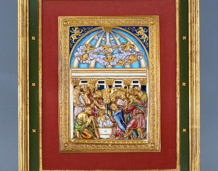 Luis Válles - esmalte al fuego - cursos - Marco con imagen Ref.268 La adoración de los pastores. Esmalte en alto relieve. 35x42cm