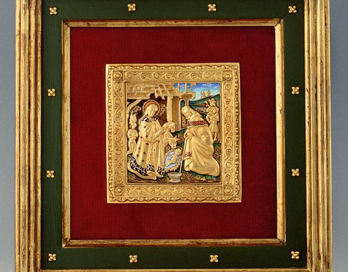 Luis Válles - esmalte al fuego - cursos - Marco con imagen Ref.269 Estilo renacimiento. Esmalte campeado. 26x26cm