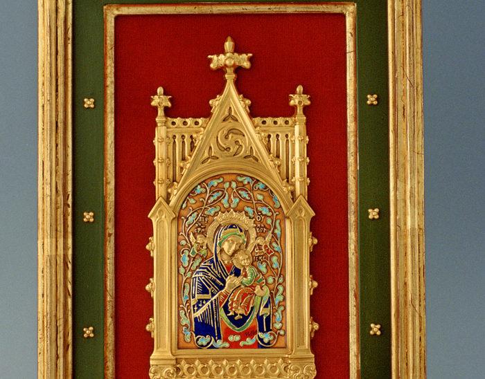 Luis Válles - esmalte al fuego - cursos - Marco con imagen Ref.270 Virgen del perpetuo socorro. Estilo gótico. 23x33cm