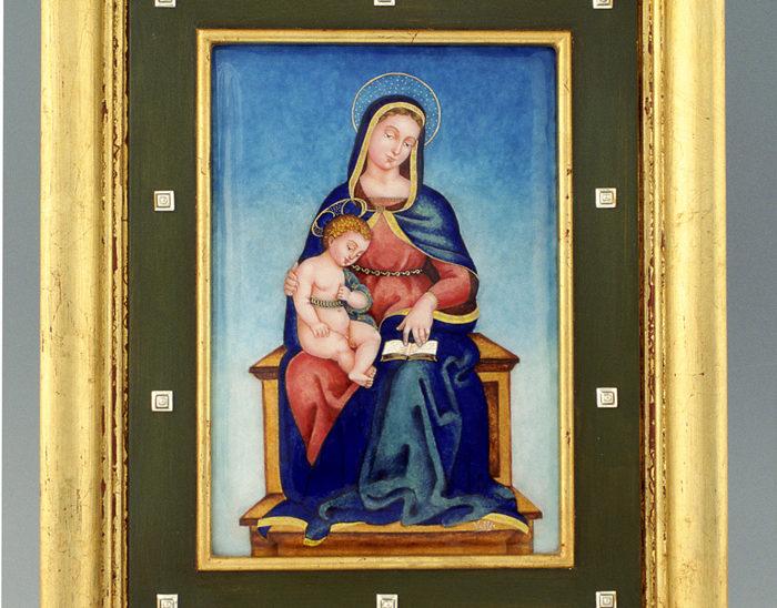 Luis Válles - esmalte al fuego - cursos - Marco con imagen Ref.274 Madonna de Rafael. Esmalte pintado. 31x38cm