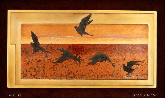 Luis Válles - esmalte al fuego - cursos - Cuadro Ref.16 Guadalupe. Esmalte pintado con oxidaciones sobre cobre. 21.5x16cm.