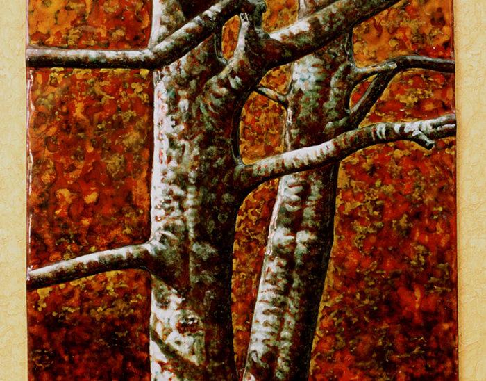 Luis Válles - esmalte al fuego - cursos - Cuadro Ref.9 Bodas de oro en Irati. Esmalte pintado en oxidaciones sobre relieve repujado en cobre. 68x48cm.