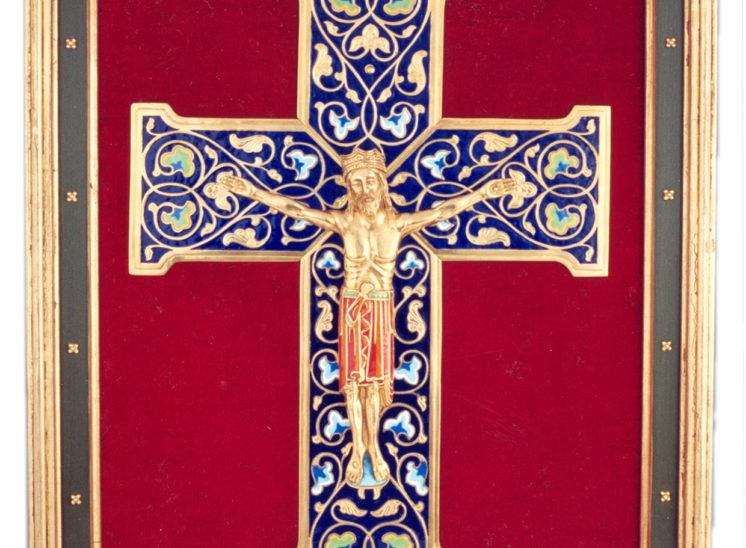 Luis Vallés - esmalte - Cruz Ref.101 Estilo romanico esmalte campeado. 43x53cm